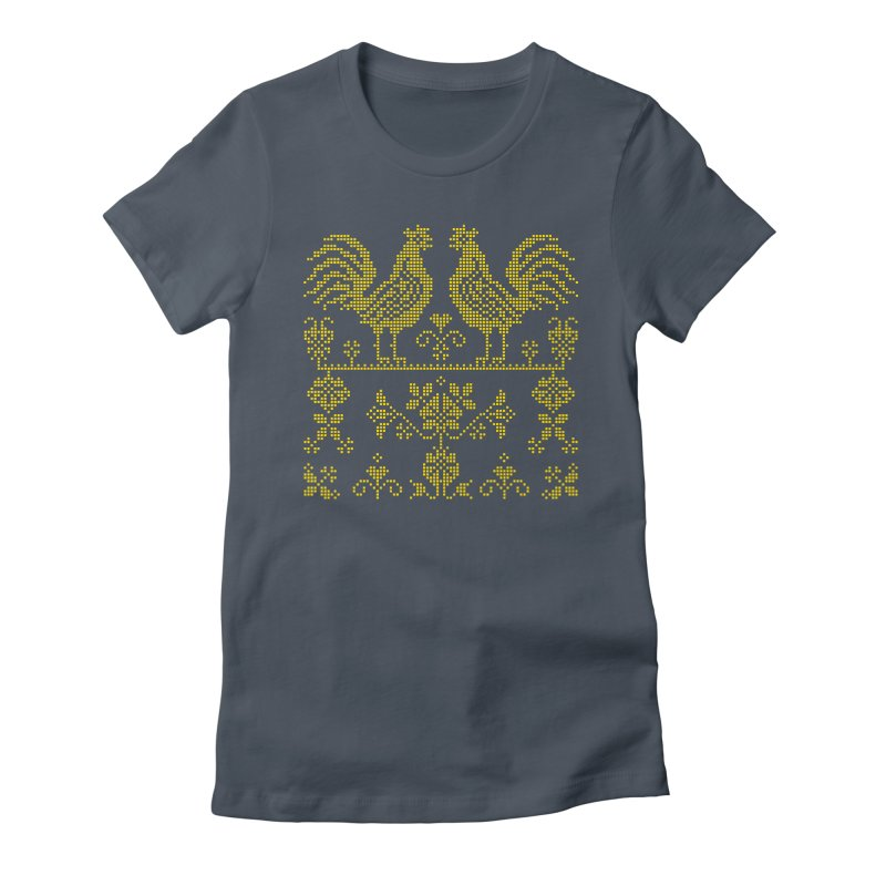 Embroidery Yellow Roosters Women's T-Shirt by Kurochka