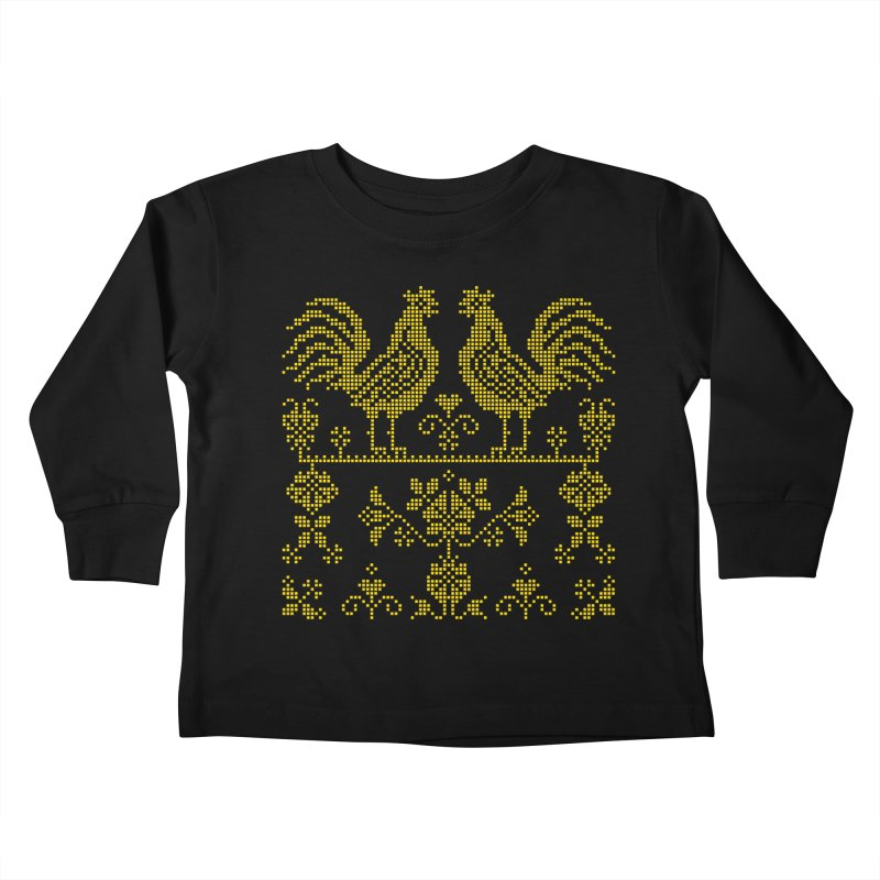 Embroidery Yellow Roosters Kids Toddler Longsleeve T-Shirt by Kurochka