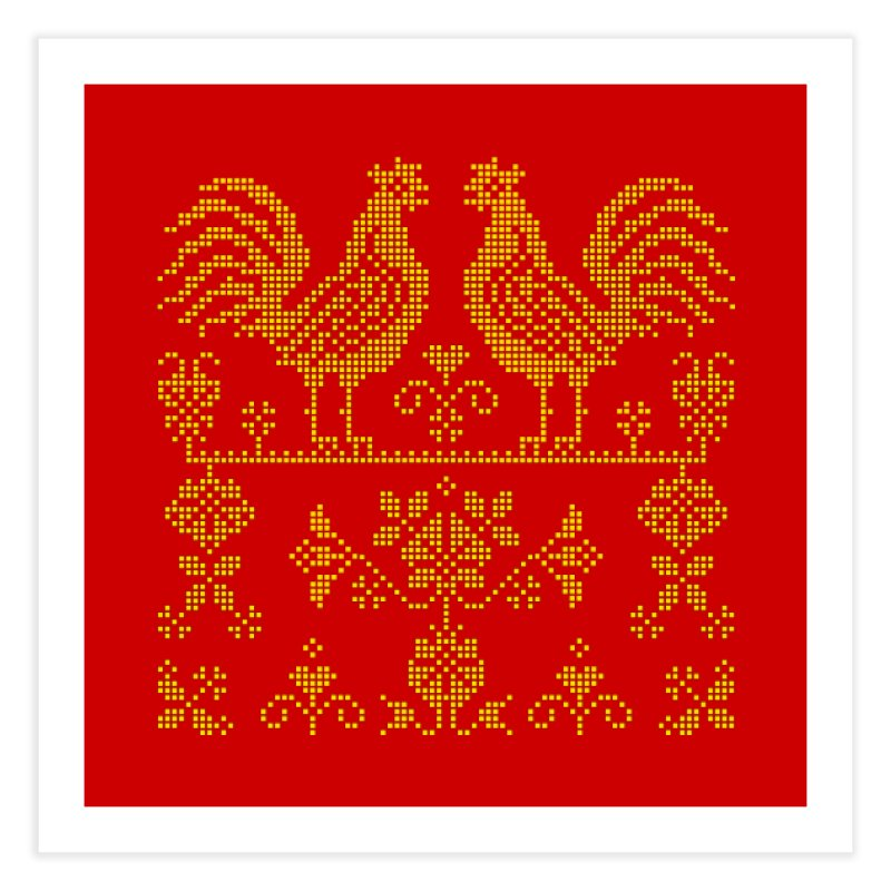 Embroidery Yellow Roosters Home Fine Art Print by Kurochka