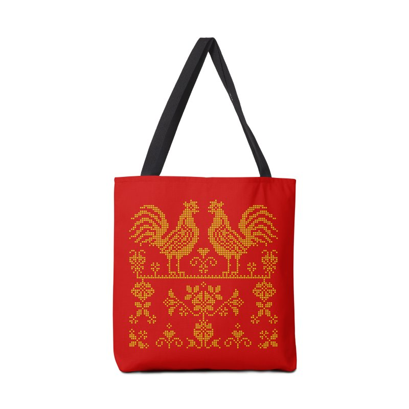 Embroidery Yellow Roosters Accessories Bag by Kurochka