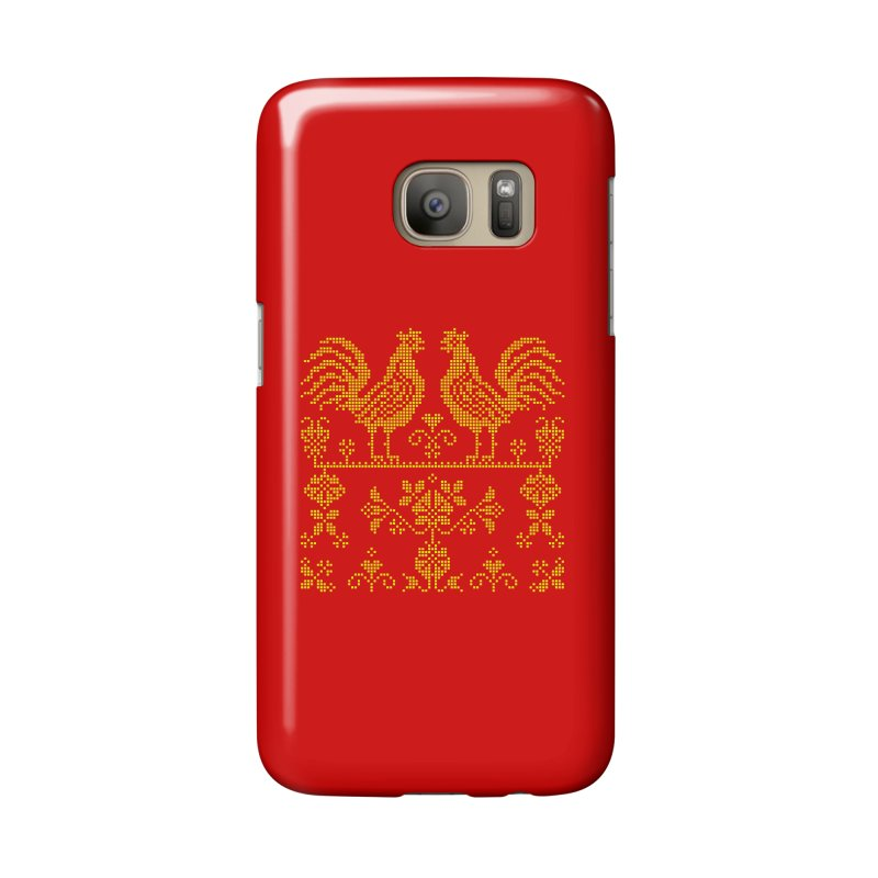 Embroidery Yellow Roosters Accessories Phone Case by Kurochka