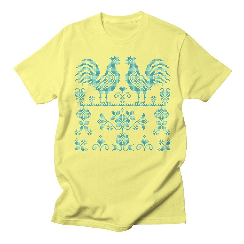 Embroidery Blue Roosters Men's T-Shirt by Kurochka