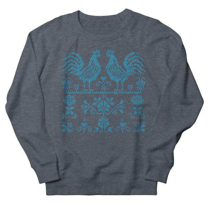 Embroidery Blue Roosters Men's Sweatshirt by Kurochka