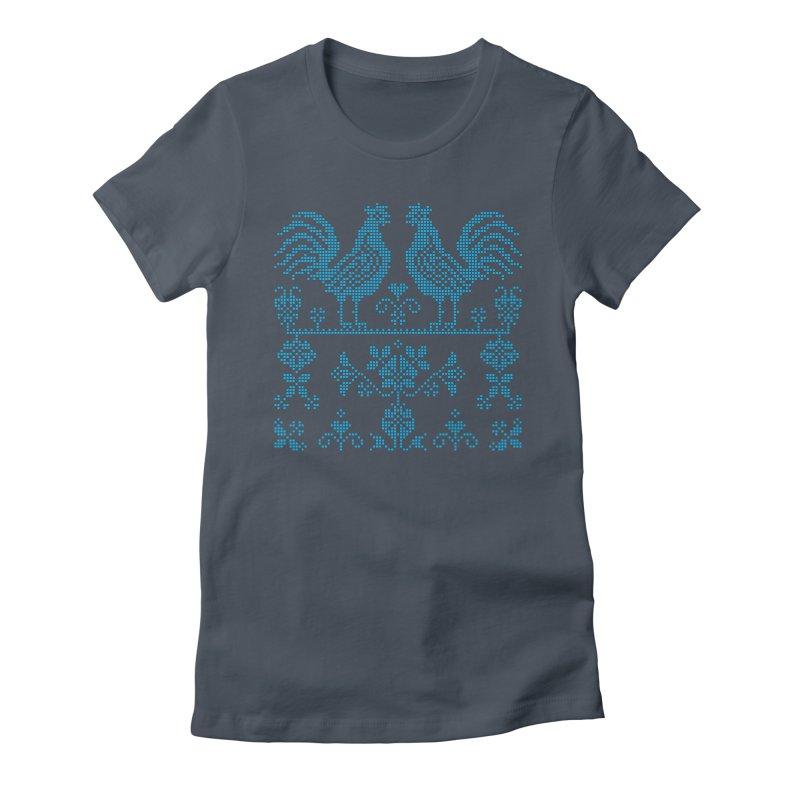 Embroidery Blue Roosters Women's T-Shirt by Kurochka