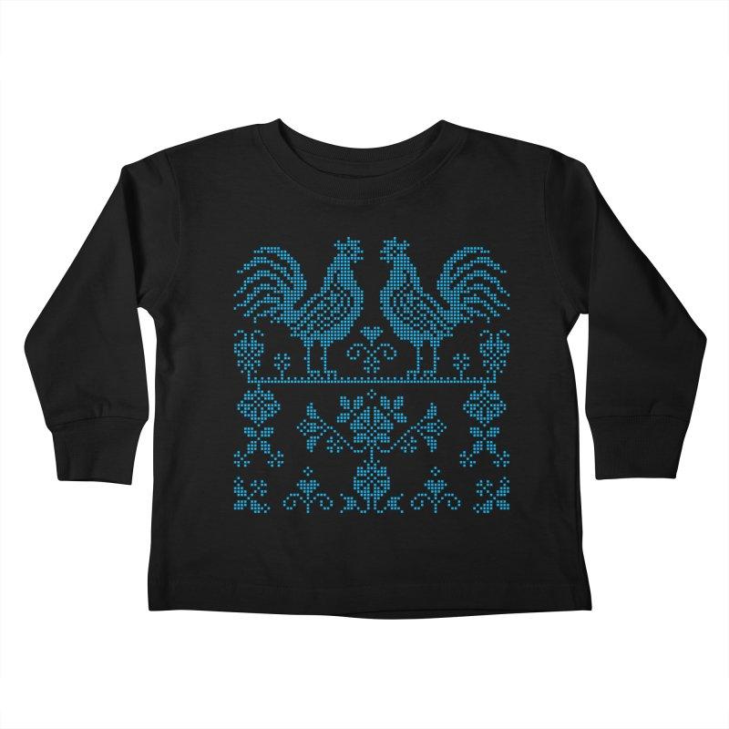 Embroidery Blue Roosters Kids Toddler Longsleeve T-Shirt by Kurochka