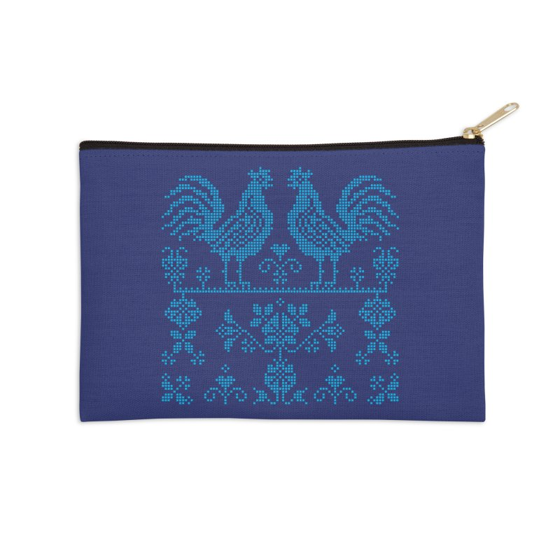 Embroidery Blue Roosters Accessories Zip Pouch by Kurochka