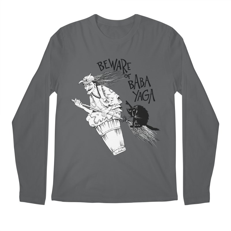 Baba Yaga and her black cat Men's Longsleeve T-Shirt by Kurochka