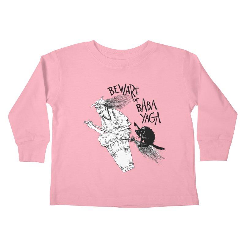 Baba Yaga and her black cat Kids Toddler Longsleeve T-Shirt by Kurochka