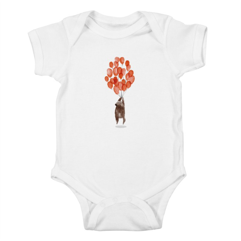 Red Balloons Kids Baby Bodysuit by Ohufu