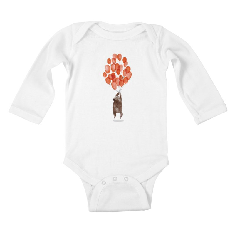 Red Balloons Kids Baby Longsleeve Bodysuit by Ohufu