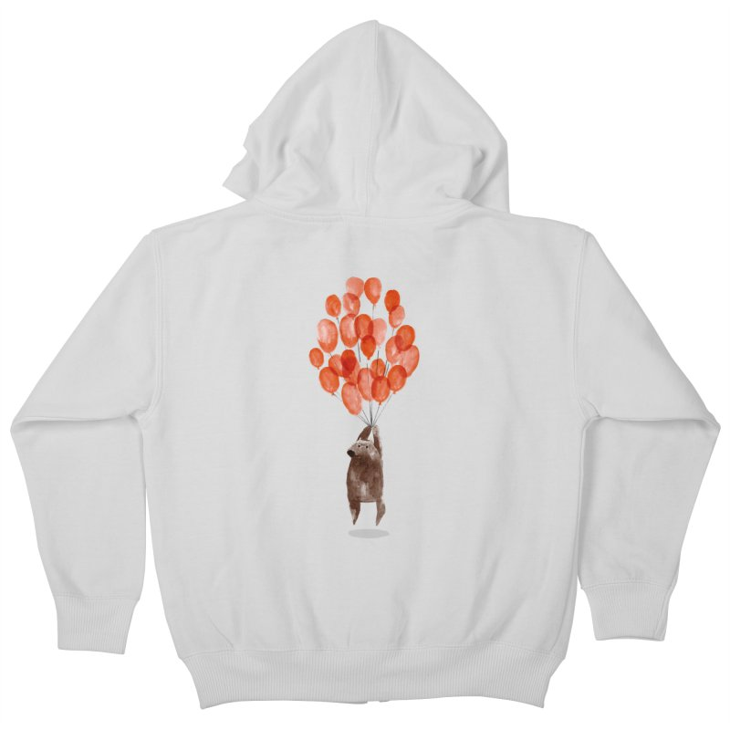 Red Balloons Kids Zip-Up Hoody by Ohufu