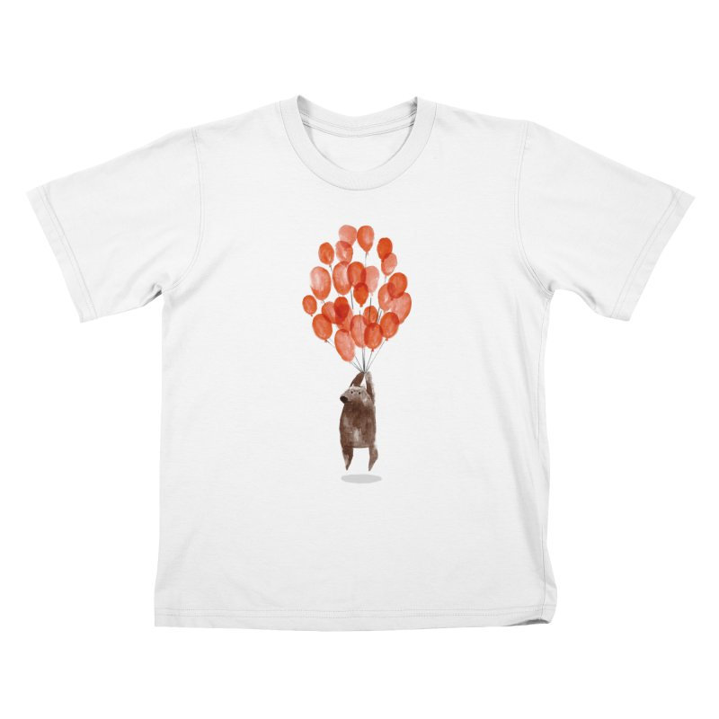 Red Balloons Kids T-shirt by Ohufu