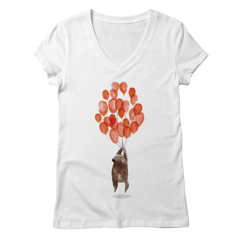 Red Balloons Women's V-Neck by Ohufu