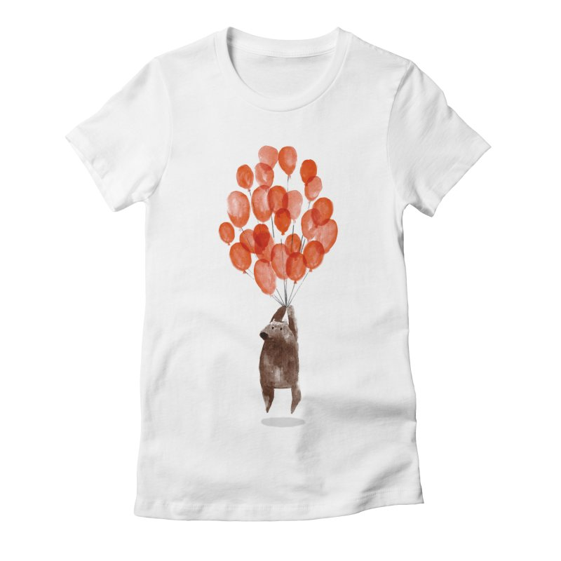 Red Balloons Women's Fitted T-Shirt by Ohufu