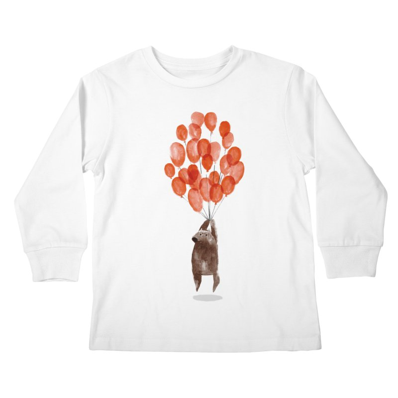 Red Balloons Kids Longsleeve T-Shirt by Ohufu
