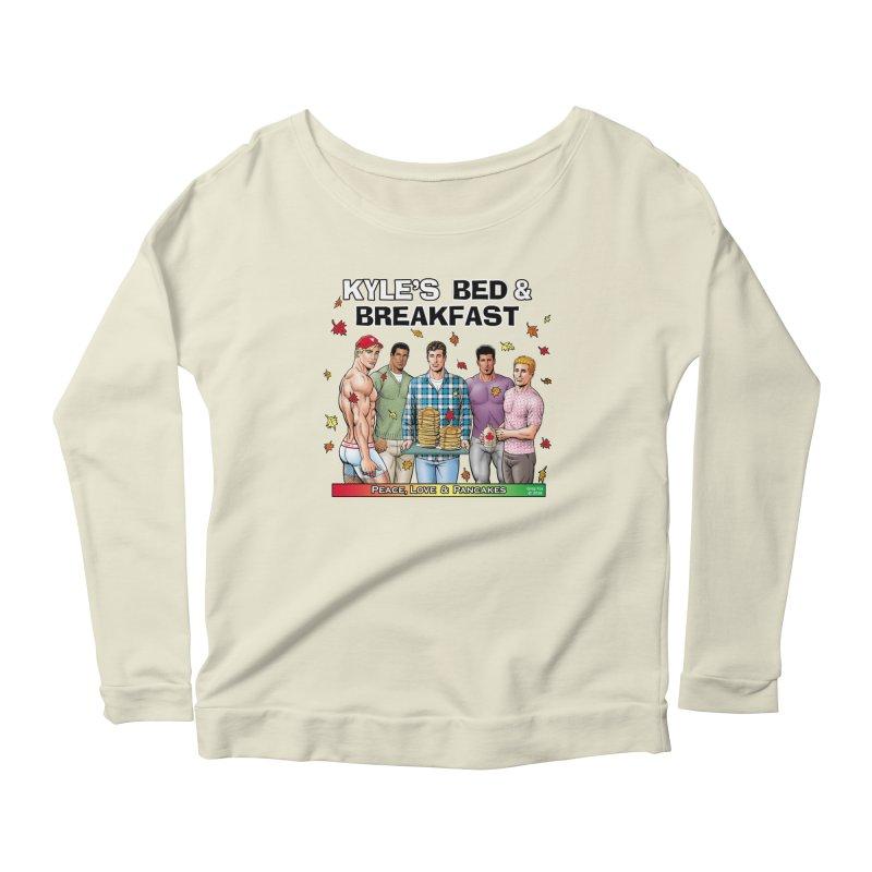 Peace, Love & Pancakes! Women's Longsleeve Scoopneck  by Kyle's Bed & Breakfast Fine Clothing & Gifts Shop