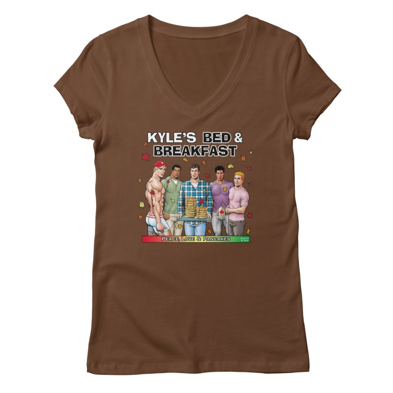 Peace, Love & Pancakes! Women's V-Neck by Kyle's Bed & Breakfast Fine Clothing & Gifts Shop