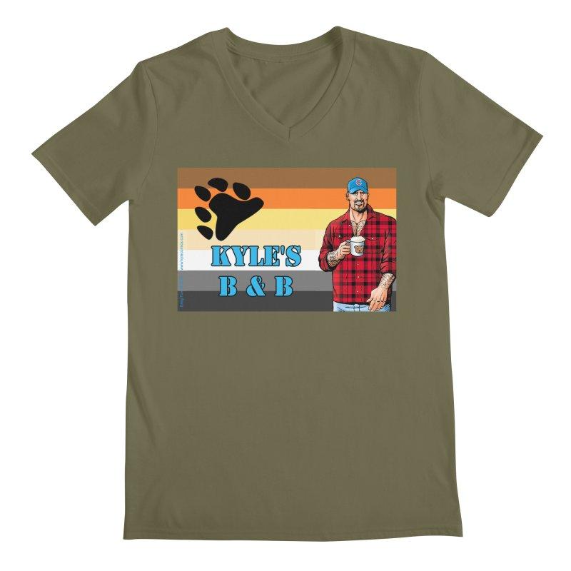 Jake - Bear Flag Men's Regular V-Neck by Kyle's Bed & Breakfast Fine Clothing & Gifts Shop