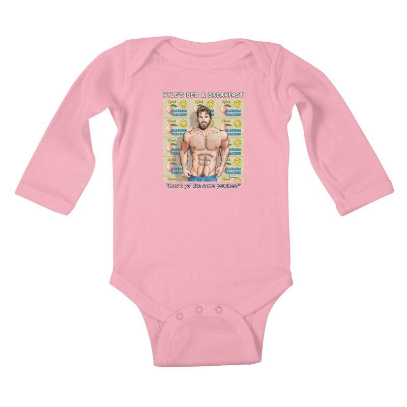 Drew - Fresh Alabama Peaches Kids Baby Longsleeve Bodysuit by Kyle's Bed & Breakfast Fine Clothing & Gifts Shop