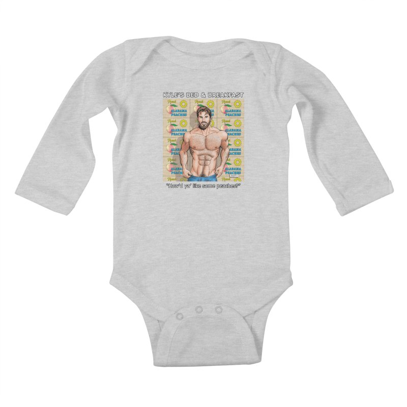 Drew - Fresh Alabama Peaches Kids Baby Longsleeve Bodysuit by Kyle's Bed & Breakfast Fine Clothing & Gifts Shop