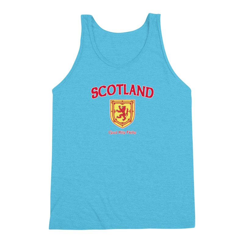 Scotland - Ceud Mìle Fàilte Men's Triblend Tank by Kyle's Bed & Breakfast Fine Clothing & Gifts Shop
