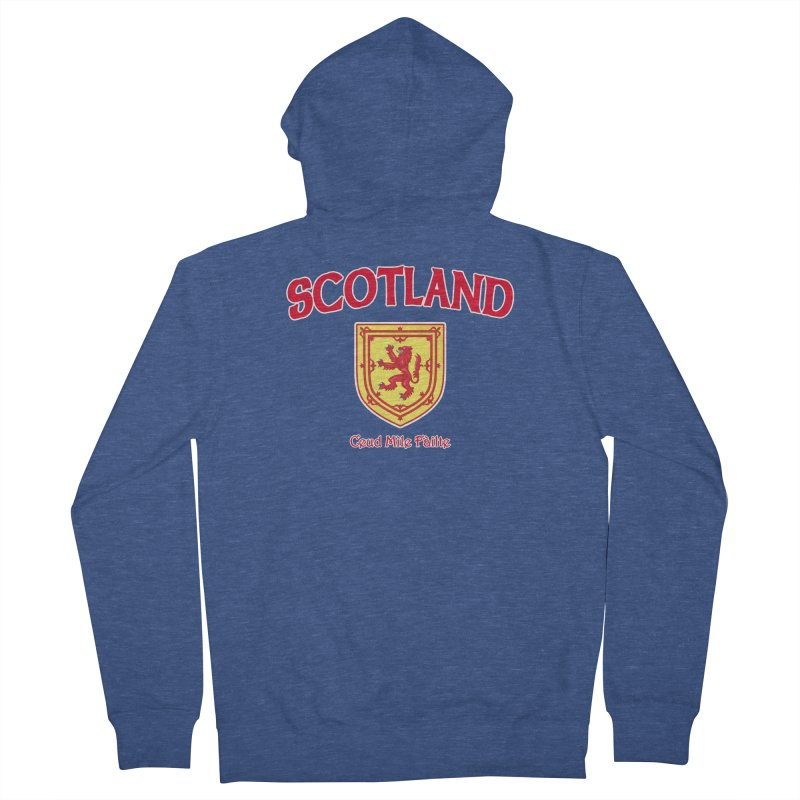 Scotland - Ceud Mìle Fàilte Men's French Terry Zip-Up Hoody by Kyle's Bed & Breakfast Fine Clothing & Gifts Shop