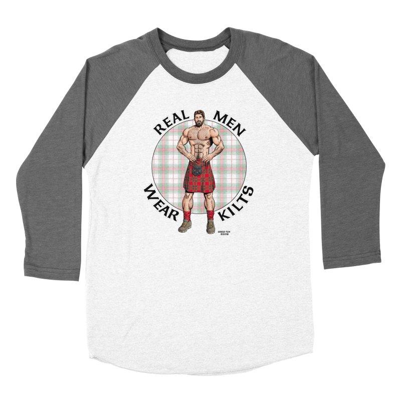 Real Men Wear Kilts Women's Baseball Triblend Longsleeve T-Shirt by Kyle's Bed & Breakfast Fine Clothing & Gifts Shop