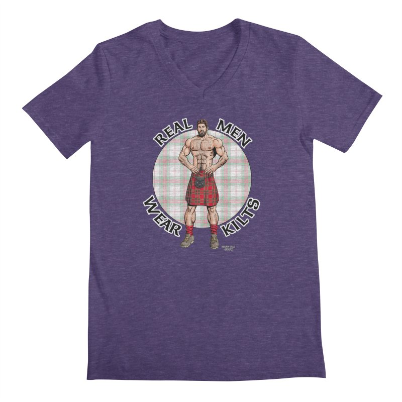 Real Men Wear Kilts Men's Regular V-Neck by Kyle's Bed & Breakfast Fine Clothing & Gifts Shop