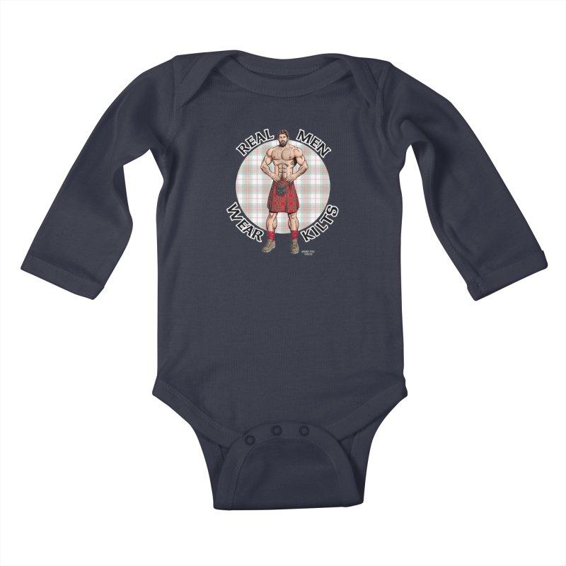 Real Men Wear Kilts Kids Baby Longsleeve Bodysuit by Kyle's Bed & Breakfast Fine Clothing & Gifts Shop