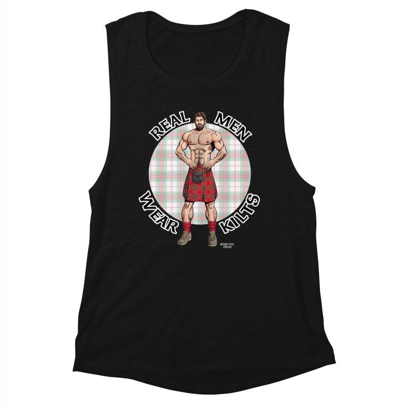 Real Men Wear Kilts Women's Muscle Tank by Kyle's Bed & Breakfast Fine Clothing & Gifts Shop