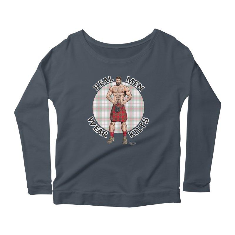 Real Men Wear Kilts Women's Scoop Neck Longsleeve T-Shirt by Kyle's Bed & Breakfast Fine Clothing & Gifts Shop