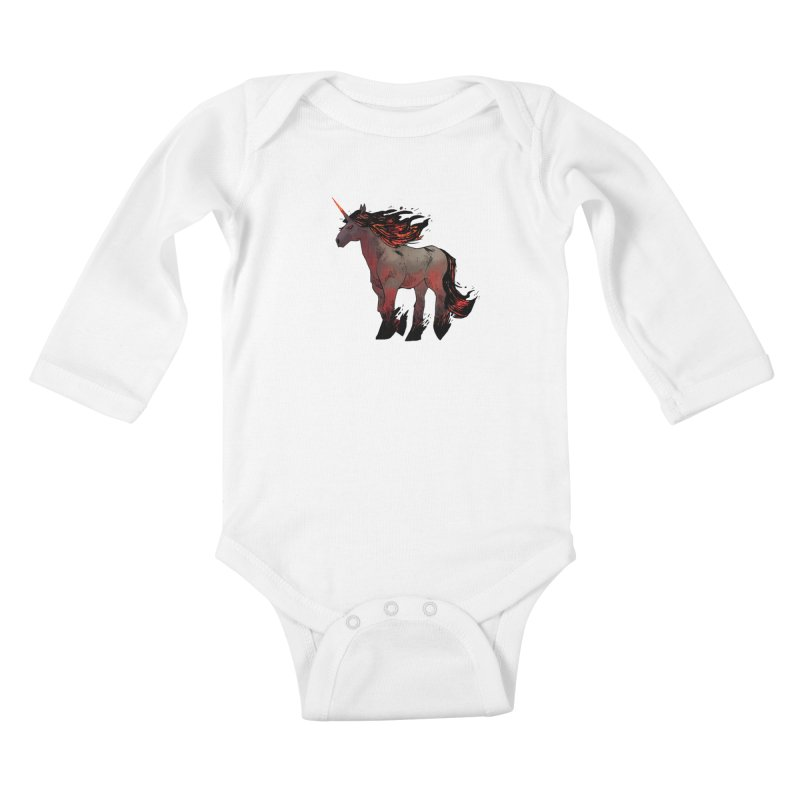 Nightmare Unicorn Kids Baby Longsleeve Bodysuit by Kyle Ferrin's Artist Shop