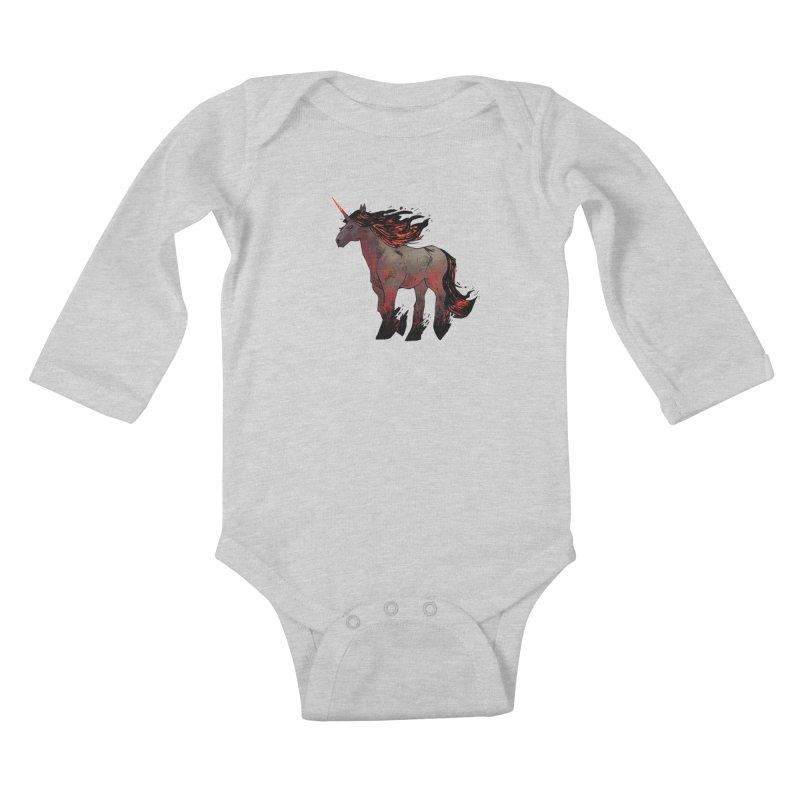 Nightmare Unicorn Kids Baby Longsleeve Bodysuit by Kyle Ferrin's Artist Shop