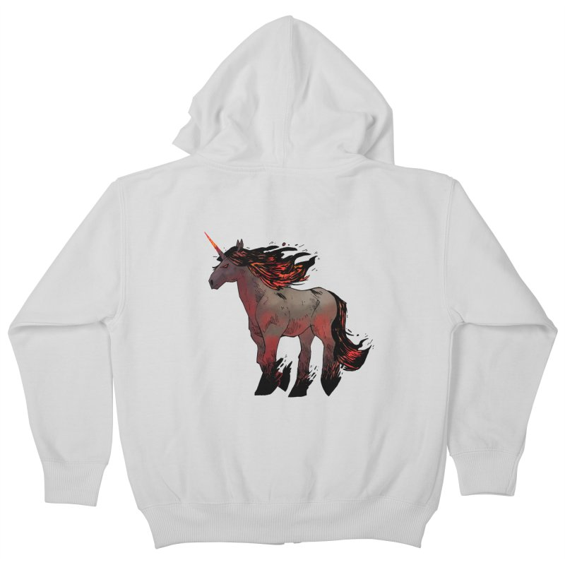 Nightmare Unicorn Kids Zip-Up Hoody by Kyle Ferrin's Artist Shop