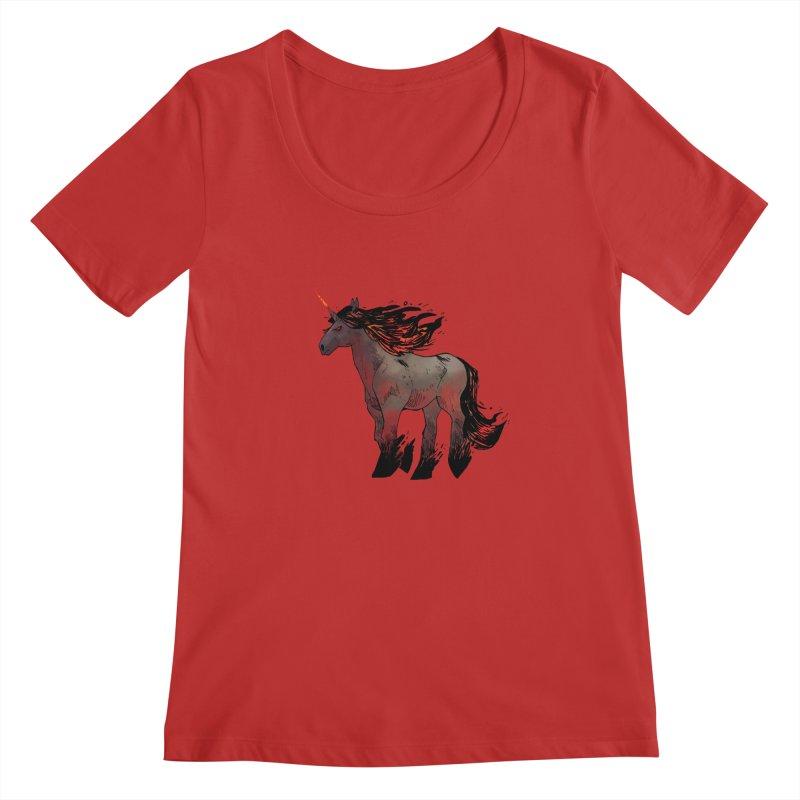 Nightmare Unicorn Women's Regular Scoop Neck by Kyle Ferrin's Artist Shop