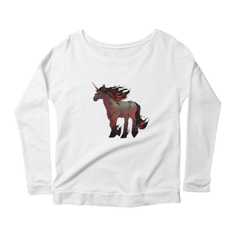 Nightmare Unicorn Women's Scoop Neck Longsleeve T-Shirt by Kyle Ferrin's Artist Shop