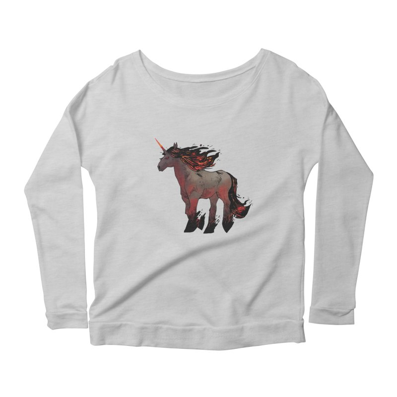 Nightmare Unicorn Women's Scoop Neck Longsleeve T-Shirt by Kyle Ferrin's Artist Shop