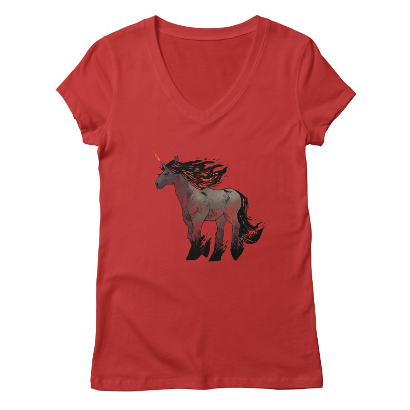 Nightmare Unicorn Women's Regular V-Neck by Kyle Ferrin's Artist Shop