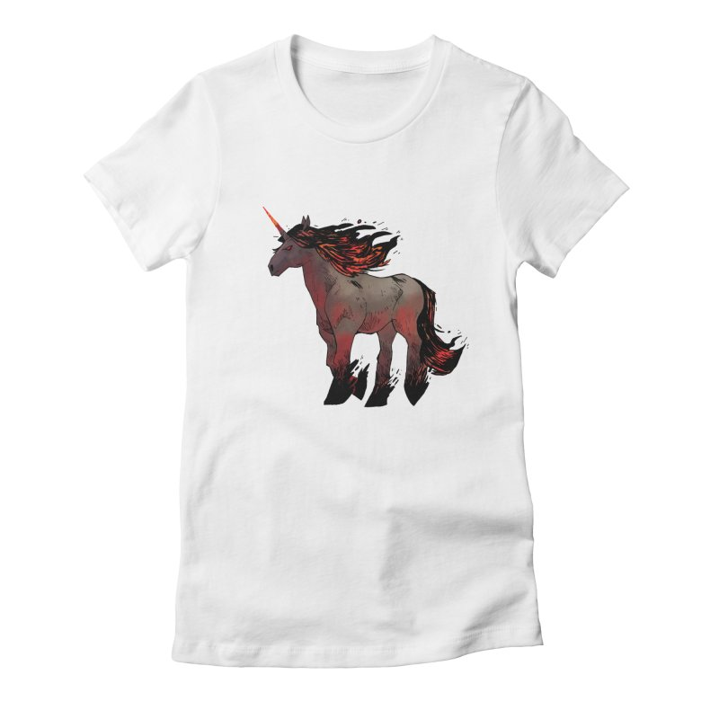 Nightmare Unicorn Women's Fitted T-Shirt by Kyle Ferrin's Artist Shop