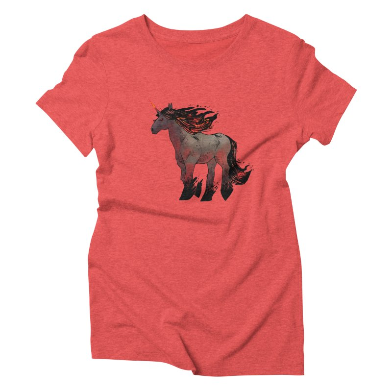 Nightmare Unicorn Women's Triblend T-shirt by Kyle Ferrin's Artist Shop