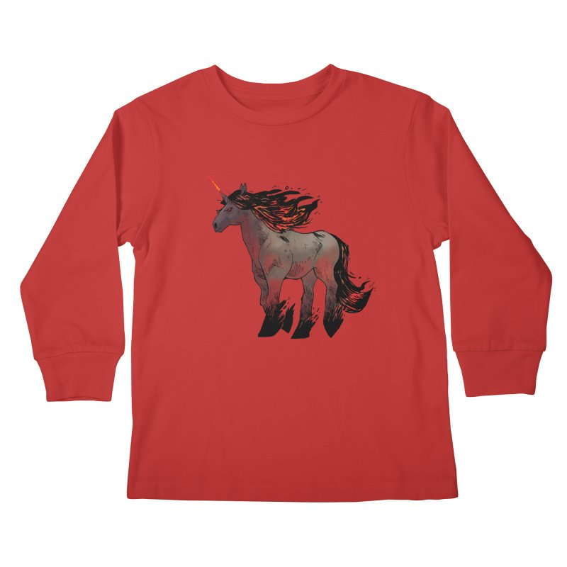 Nightmare Unicorn Kids Longsleeve T-Shirt by Kyle Ferrin's Artist Shop