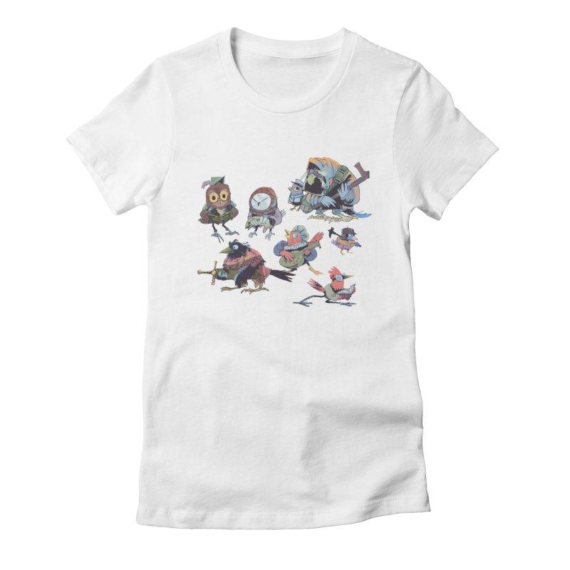 Bird People Women's Fitted T-Shirt by Kyle Ferrin's Artist Shop
