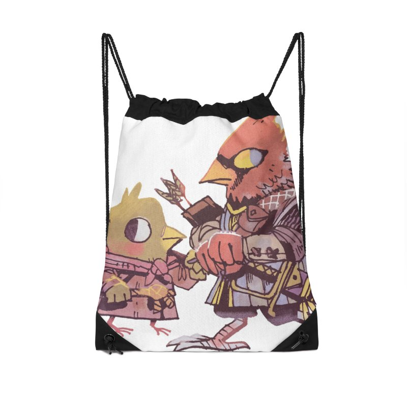 Bird Mercenaries Accessories Drawstring Bag Bag by Kyle Ferrin's Artist Shop