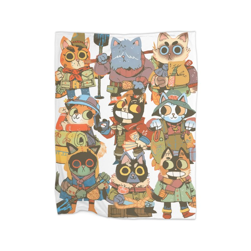 Fishing Felines Home Fleece Blanket Blanket by Kyle Ferrin's Artist Shop