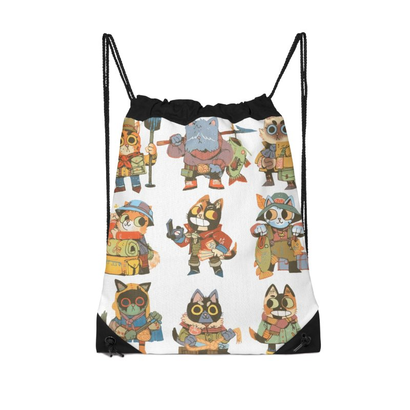Fishing Felines Accessories Drawstring Bag Bag by Kyle Ferrin's Artist Shop