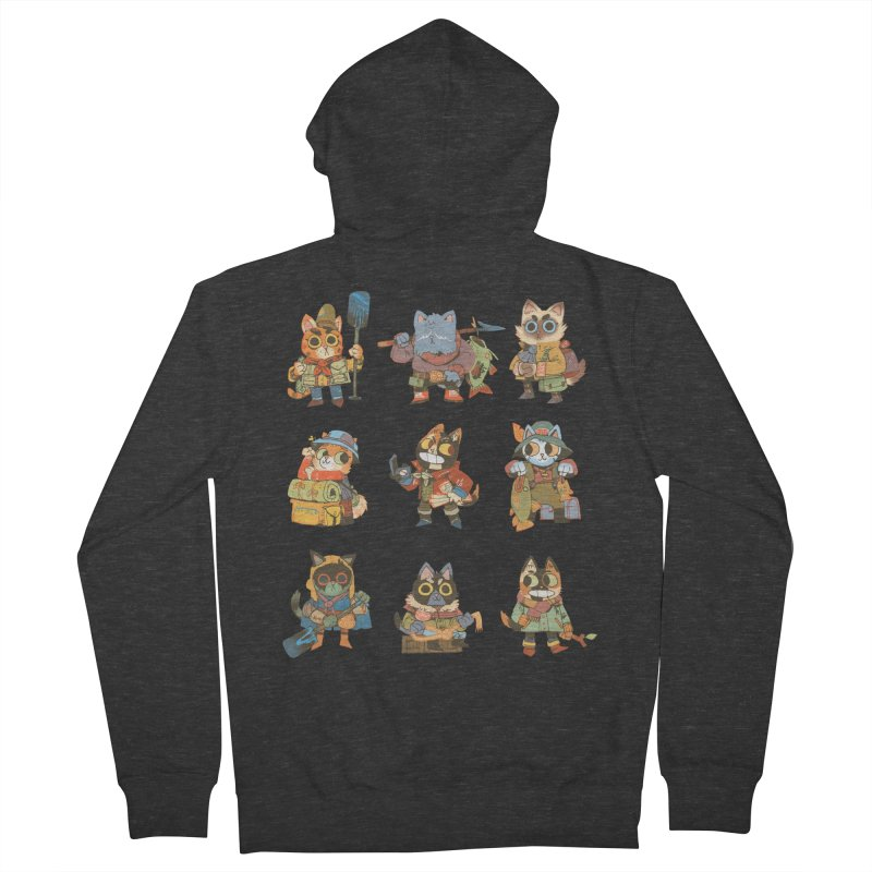 Fishing Felines Men's French Terry Zip-Up Hoody by Kyle Ferrin's Artist Shop