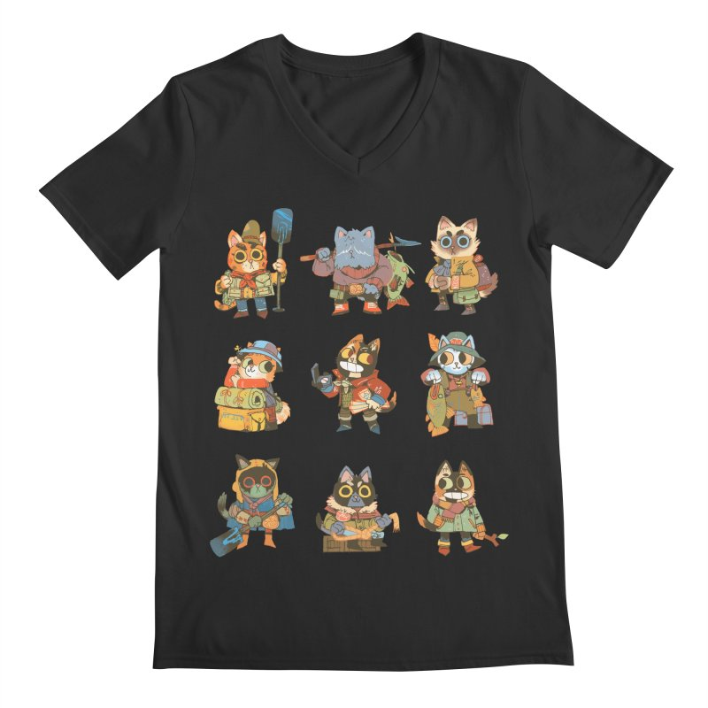 Fishing Felines Men's Regular V-Neck by Kyle Ferrin's Artist Shop