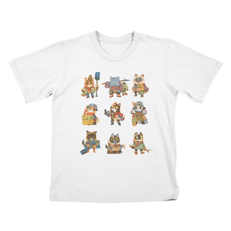 Fishing Felines Kids T-Shirt by Kyle Ferrin's Artist Shop