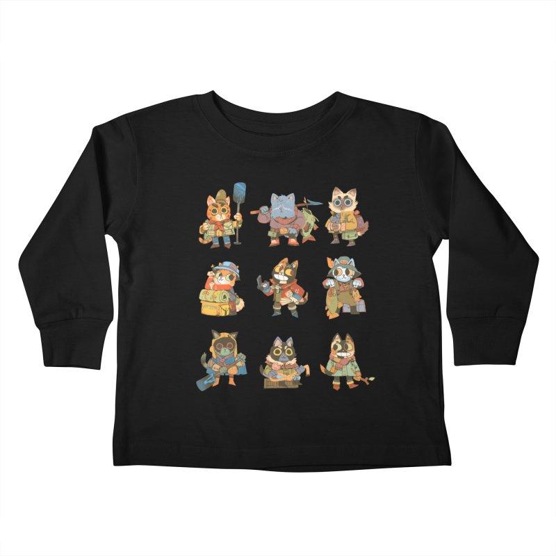 Fishing Felines Kids Toddler Longsleeve T-Shirt by Kyle Ferrin's Artist Shop