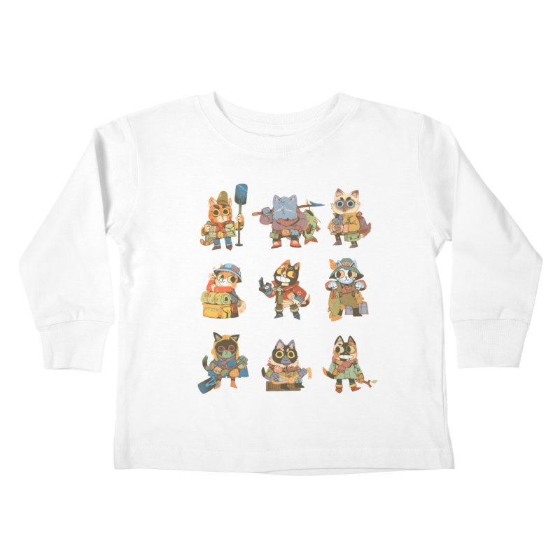Fishing Felines Kids Toddler Longsleeve T-Shirt by Kyle Ferrin's Artist Shop
